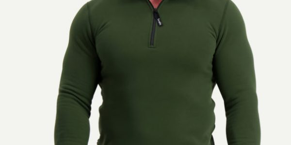 1350 power stretch pro zip-neck, green, front3